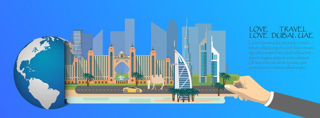 Dubai infographic , global  with landmarks of Dubai ,flat style.Love travel love Dubai.