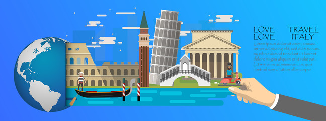 Italy infographic , global  with landmarks of Italy ,flat style.Love travel love Italy.