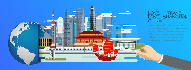 China infographic , global  with landmarks of Shanghai ,flat style.Love travel love Shanghai ,China .