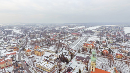 Tychy, panorama miasta z drona