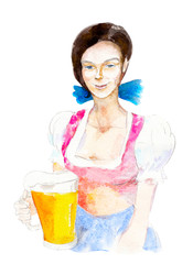 Bavarian girl with beer mug isolated on white background, hand-drawn watercolor illustration for octoberfest.