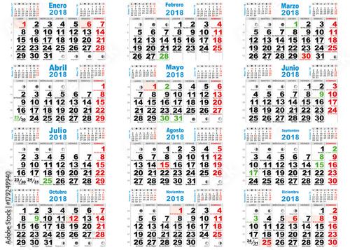 Calendario Con Santos.Calendario Santoral Lunar 2018 Stock Image And Royalty Free Vector