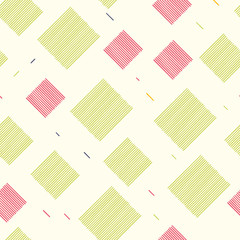 Seamless pattern with squares made of lines. Vector repeating texture. Hand drawn image.