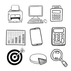 Doodle Business Icon Set 2 - Vector Hand drawn