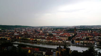 Panoramic aerial cityscape of Wurzburg city and river Main, Lower Franconia in Bavaria, Germany
