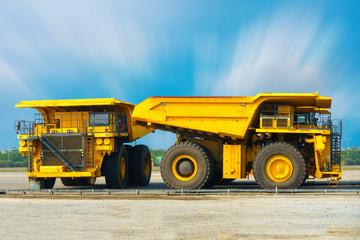Coal mining truck on parking rod, Super dump truck, Heavy equipment