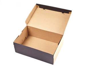 Open black cardboard box with lid isolated on white background.