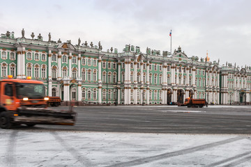 cleaning municipal trucks at the Palace square in St. Petersburg, Russia.