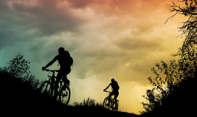 couple cycling outdoor