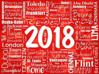 2018 travel cities word cloud collage, trip destinations concept background