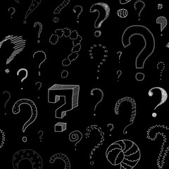 lots of question marks on blackboard, seamless pattern