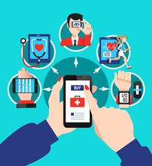 Digital Healthcare Options Flat Poster