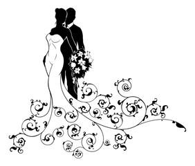 Bride and Groom Wedding Bridal Dress Silhouette
