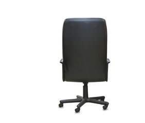 back view of modern office chair from black leather. Isolated