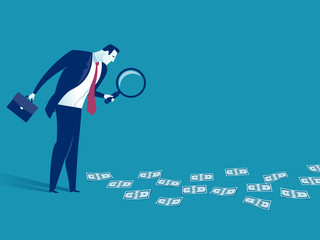 Searching for the profit. Illustration of a businessman looking at banknotes through magnifying glass. Business concept illustration
