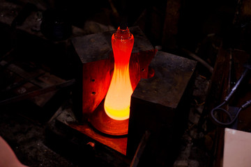 Picture from glass blower factory , Glassworks glass manufacturing process