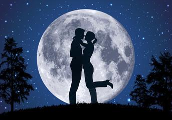 amoureux - amour - couple - romantique - baiser -clair de lune - romance - sexualité - sensualité