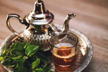 close up of traditional moroccan tea