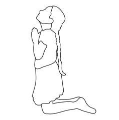 sketch child praying