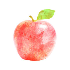 Watercolor red apple fruit with leaf on white