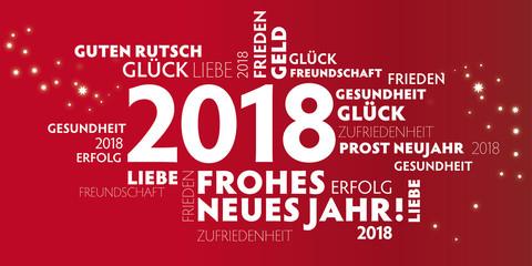 Neujahrsgruß 2018 mit verschiedenen Grußformeln und Wünschen