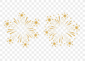 Fireworks gold set isolated. Beautiful golden firework on background. Bright decoration Christmas card, Happy New Year celebration, anniversary, festival. Flat design Vector illustration