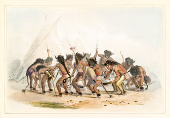 Old watercolor illustration of the native indian buffalo dance. By G. Catlin, Catlin's North American Indian Portfolio, Ackerman, New York, 1845