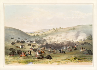 Buffalo hunt. Native indians surrounding a group of buffalos. Old watercolor illustration By G. Catlin, Catlin's North American Indian Portfolio, Ackerman, New York, 1845