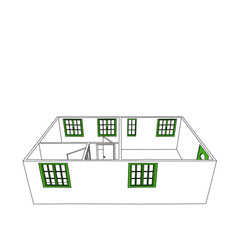 Sketch drawing of empty home apartment with green windows