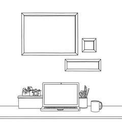 Sketch drawing of three blank picture frames laptop