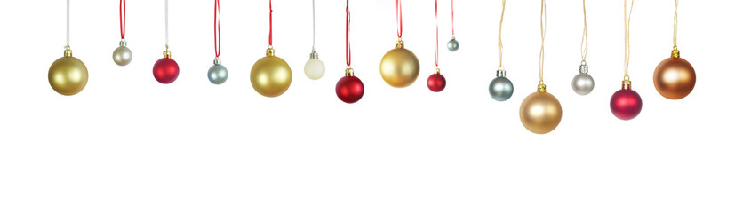Christmas tree balls isolated on white, panoramic, free copy space