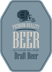 Template vector label for draft beer premium quality in a retro style with vintage truck with a wooden cask