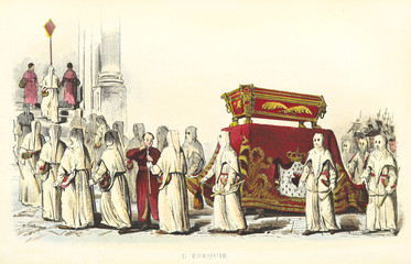 Funeral rite. Hooded men carrying a red coffin inside a church. Outdoor scene. Old illustration by Mattei and Fusaro, Usi e Costumi di Napoli e contorni dipinti e descritti, Nobile, Napoli, 1853-58