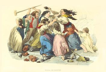 Ancient women violent brawl. Old illustration by Mattei and F. Palizzi, publ. on De Bourcard,  Usi e Costumi di Napoli e contorni dipinti e descritti, Ed. Nobile, Napoli, 1853-58