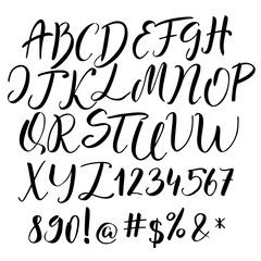 Handwritten calligraphy font. Vector alphabet. Hand drawn letters