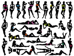 Big set of vector silhouettes of women in colored bikini dress.