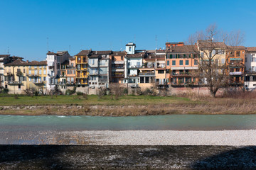 Colorful Facade along the River in Parma, Italy