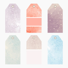 Hand drawn watercolor creative tags. Universal shopping, sales, advertising, price tags and product label templates isolated. Vector isolated
