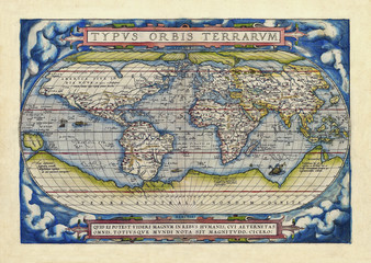 Old map of the world. Full globe realized in ancient style. Blue cloud theme decoration on each frame corner . By Ortelius, Theatrum Orbis Terrarum, Antwerp, 1570