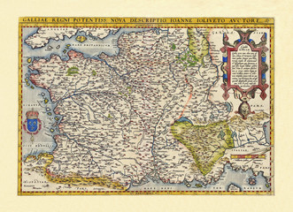 Old map of France. Excellent state of preservation realized in ancient style. All the graphic composition inside a frame. By Ortelius, Theatrum Orbis Terrarum, Antwerp, 1570