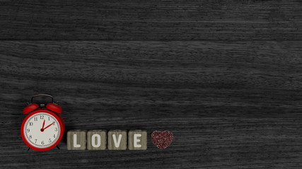 The red clock is on the beautiful wooden floor and the message on the day of love sweet valentines day nice picture