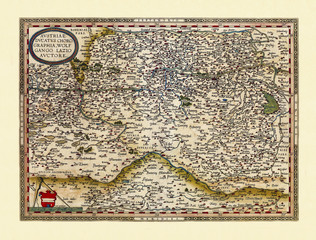 Old map of Austria. Excellent state of preservation realized in ancient style. All the graphic composition is inside a frame. By Ortelius, Theatrum Orbis Terrarum, Antwerp, 1570