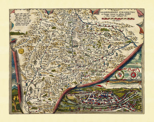 Old map of Salzburg region. Excellent state of preservation realized in ancient style. All the graphic composition is inside a frame. By Ortelius, Theatrum Orbis Terrarum, Antwerp, 1570