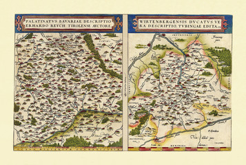 Old detailed maps of Bavaria and Baden-Wurttemberg. Excellent state of preservation realized in ancient style. Side by side graphic composition. By Ortelius, Theatrum Orbis Terrarum, Antwerp, 1570