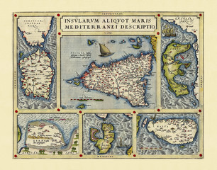 Old detailed map of Mediterranenan islands, Italy. Excellent state of preservation realized in ancient style. Composition is inside a frame. By Ortelius, Theatrum Orbis Terrarum, Antwerp, 1570