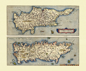 Old Maps of Cyprus and Crete. Two frames arranged side by side vertically each one with a Island inside. By Ortelius, Theatrum Orbis Terrarum, Antwerp, 1570