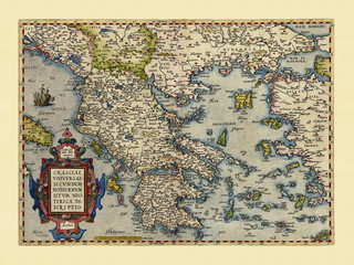 Old map of Greece. Excellent state of preservation realized in ancient style. All the graphic composition is inside a frame. By Ortelius, Theatrum Orbis Terrarum, Antwerp, 1570