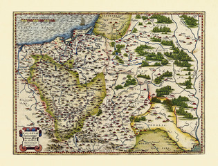 Old map of Poland. Excellent state of preservation realized in ancient style. All the graphic composition is inside a frame. By Ortelius, Theatrum Orbis Terrarum, Antwerp, 1570