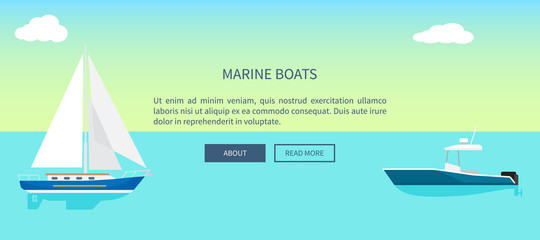 Poster Turquoise Marine Boats Web Banner with Text, Yacht Sailboat