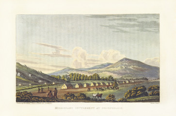Ancient natural landscape with houses. Missionary settlement in Groenkloof, South Africa. By Cocking and Stadler after Latrobe, on Journal of a Visit to South Africa, in 1815, and 1816, London 1818